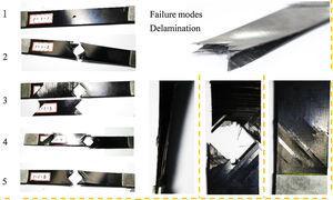 Delamination and matrix cracking of specimens [453/903/-453/03]s.