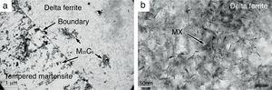TEM micrographs of precipitates in Steel No.1 after quenching and tempering for 120min at 660°C. (a) The spherical precipitates. (b) The finer acicular precipitates within delta ferrite.