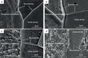 The FESEM micrographs of steel No.1 after quenching (a) and tempering for 120min at 200°C (b), 630°C (c) and 690°C (d).
