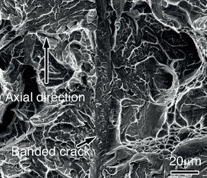 SEM fractograph of fractured transverse impact specimen in Steel No.1 tempered at 200°C.