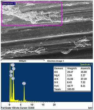 EDS analysis of worn surface of the composites with 15wt.% fine size garnet particle reinforced at 49N load.
