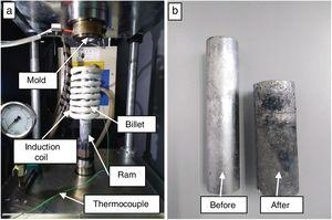 (a) Thixoforming machine, (b) before and after thixoformed billets.