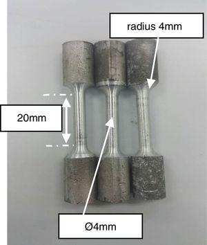 ASTM E8 tensile test samples.