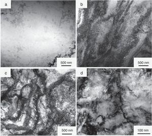 TEM microstructures of Cu–0.32Cr–0.059Ti–0.017Si alloy with different degrees of cold-rolling reduction: (a) 0%, (b) 60%, (c) 80%, and (d) 90%.