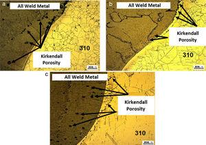 Micrographic characterization of welded joints after IHT: (a) CP1, (b) CP2 and (c) CP3.