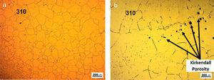 Region near the fusion line between the AISI 310 austenitic stainless steel base metal and the all weld metal of the CP1 joint before and IHT: (a) before IHT and (b) after IHT.