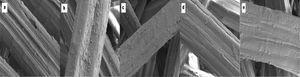 SEM micrograph of kenaf fibre (a) untreated fibre, (b) 2% NaOH, (c) 4%NaOH, (d) 6% NaOH and (e) 8% NaOH [65].