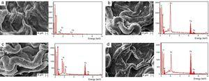 SEM micrographs of the surfaces of the films and the respective EDX spectrum, acquired from SEM images of (a) FC, (b) FCFe0.5, (c) FCFe1.4, and (d) FCFe3.0.