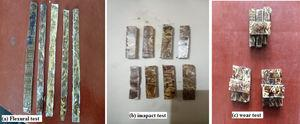Specimens for flexural test (a), impact test (b) and wear test (c).