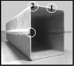The three investigated extrusion weld locations (1, 2, and 3) of the extruded AM30 alloy.