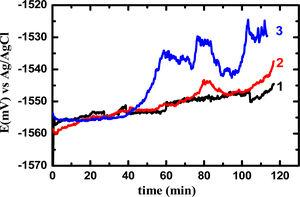 The change of the OCP versus time for (1) sample 1, (2) sample 2, and (3) sample 3 from the extrudate AM30 alloy in 3.5% NaCl solution.