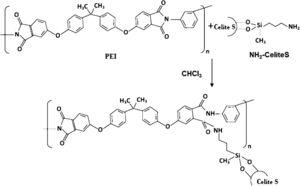 Schematic of chemical bond formation between amino-functionalised CeliteS diatomite and PEI.