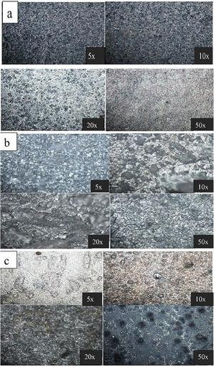 Optical micrographs of Al alloy with (a) 1.5 Cefadroxil, (b) 1.5 Dicloxacillin and (c) 1.5 Cefadroxil+1.5 Dicloxacillin inhibitor after potentiodynamic experiment.