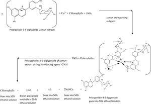 Mechanism of reduction of Cu(NO3)2 to CuI by Jamun extract.