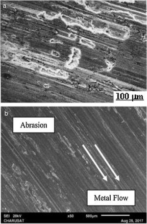 (a) SEM image showing abrasive wear mechanism in a zinc–aluminium based Al MMC [48]. (b) SEM micrographs displaying abrasive wear on (AA7075/Si3N4p) [26].
