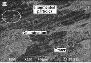 SEM image showing delamination wear of an Al matrix surface [35].
