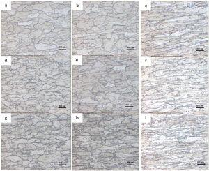 Microstructural evolution of 16%, 33% and 50% deformed sheets without EPT (a—c), with total time of 20s of EPT (d—f) and with total time of 140s of EPT (g—i).