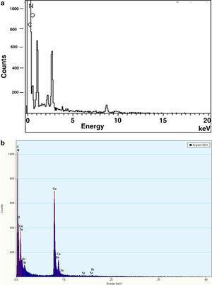 (a) EDS spectra of Aramid fiber and (b) EDS spectra of AF treated/BG/E composite.