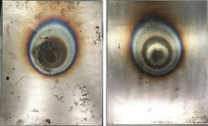 Front and backside of uncoated plate after fire resistance test.