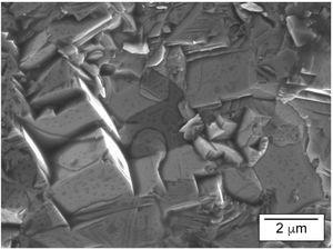 Fracture surface of SrB6 pellets prepared by spark plasma sintering revealing cubic grains.