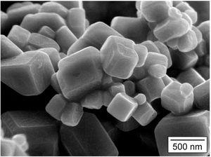 Scanning electron micrograph of sub-micron SrB6 particles produced by combustion synthesis.