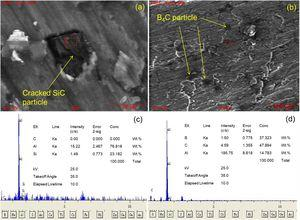 SEM images of worn surface (a) 9B4C3SiC, (b) 12B4C, (c) EDS analysis from the 9B4C3SiC (d) EDS analysis from 12B4C.