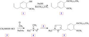 Synthesis of inhibitor molecule 5 using nitrone cycloaddition reaction.