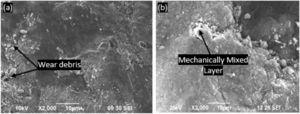 Impact of slide velocity on inner wall samples of composite A at (a) 1 m/s (b) 4 m/s.