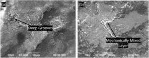 Impact of slide velocity on outer wall samples of composite A at (a) 1 m/s (b) 3 m/s.