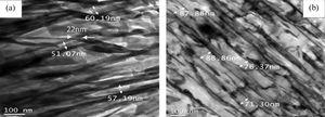 TEM micrographs showing cementite thickness and interlamellar spacing of (a) HC1G12 (strain rate: 10s–1) and (b) HC1G13 (strain rate: 100s–1) sample.