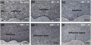 The microstructure of AZ31B/1050 bonded area at the magnetic pulse welding interface after heat preservation at different temperatures (a) as-weld; (b) 50°C, 1h; (c) 100°C, 1h; (d) 150°C, 1h; (e) 200°C,1h; (f) 250°C, 1h.
