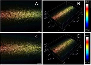 2D and 3D representative topographical image of the coated GP cone before (A) and (B), and after (C) and (D) immersion in 5.25% NaOCl.