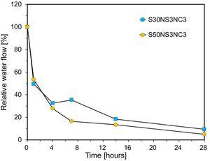 Water flow test results of specimens S30NS3NC3 and S50NS3NC3.