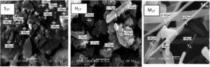 SEM images of zirconium tungsto-vanadate cation exchange material prepared using sol–gel (S17), hydrothermal (H17) and microwave (M17) techniques.