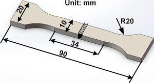 Schematic drawing of the tensile sample.