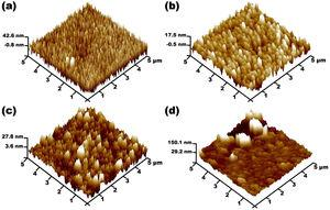 Atomic force microscopy images of (a) as-grown and AlInGaN films obtained after PEC etching at (b) 5mA/cm2, (c) 20mA/cm2, and (d) 40mA/cm2.