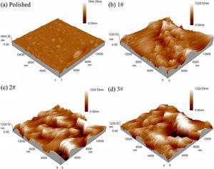 AFM morphologies of (a) polished and HMNS (b) 1#, (c) 2# and (d) 3#.