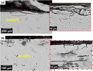 SEM images of the HAZ (HT) in the AA2098-T351 alloy welded by FSW and exposed for 48h to EXCO solution. (a) retreating side; (b) advancing side.
