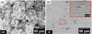 SEM images of the AA2098-T351 welded by FSW after EIS test in EXCO solution for 1h; (a) heat affected zone (HAZ); (b) stir zone (SZ).
