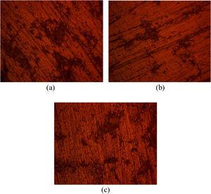 Optical image of AA1060/SiC after corrosion in 0.3M NaCl (mag. 40×) (a) 0μm, (b) 3μm and (c) 45μm.