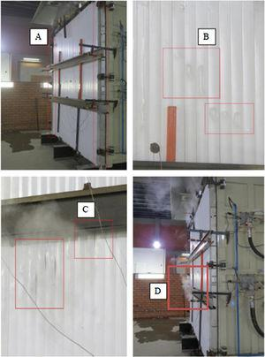 Main events occurring in the PVC3 sample test: slight buckling (A), deformation of the PVC profile (B and C) and leakage of gases through the panel (D).