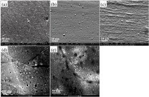The SEM micrographs show the distribution of Cr particles in (a) as-soluted samples subjected to annealing at 723K for 30min, (b) HR-3˜723K and (c) HR-6˜723K treatment, respectively; as well as STEM micrographs of (d) HR-3˜723K and (e) HR-6˜723K.