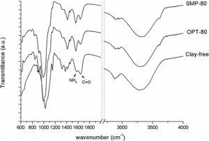 FTIR/ATR spectra of clay-free, OPT-80 and SMP-80 systems.