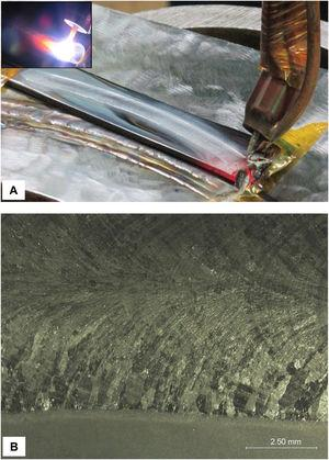 Autogenous TIG arc welding by automatic GTAW of the slices. The thermal cycle was applied in one pass. A – Thin slice fixed in the welding device. B – Surface finish of the weld bead.