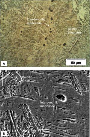 Metallographies of the weld metal, which has the same chemical composition as the base metal (autogenous weld). A – OM of the bainitic structure in the weld metal with interdendritic martensite islands; B – high magnification SEM image of the interdendritic regions of the weld metal. Nital etch.