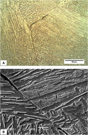 Microstructure of the HAZ, cracked in the previous austenite grain boundary A – OM; B – SEM. Nital etch.