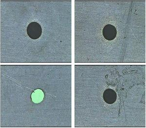 VMS images of machined hole
