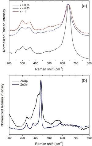 Normalized Raman spectra obtained from the samples with the different stoichiometries: (a) ZnxMn3−xO4 and (b) ZnO.