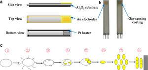 (a) The substrates used for preparing the gas-sensitive coatings, (b) the sample of gas sensor, (c) a model illustrating the change of the precursor (WCl6) during the plasma spraying.