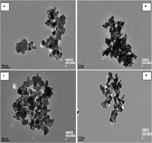 (a–d) TEM images of Mn-N-co-doped TiO2 calcinated at different calcination temperatures, (2a). MnNT-350, (2b) MnNT-450, (2c) MnNT-550, (2d) MnNT-750.
